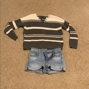 Sweater along with AE Shorts and a White Scrunchie